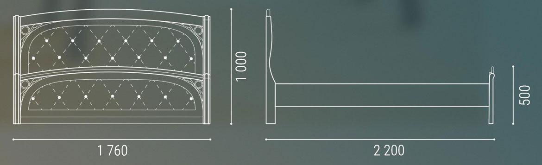 Габаритные размеры двуспальной деревянной кровати с мягким изголовьем Лексус Люкс